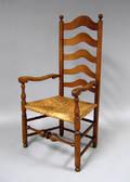 Delaware Valley ladderback armchair mid 18th c