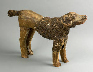Pennsylvania carved and gessoed figure of a dog 19th c