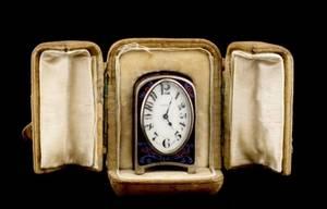 Zenith Enamel  Sterling Miniature Clock