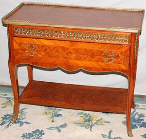081129 FRENCH STYLE SATINWOOD  BRONZE SIDE TABLE
