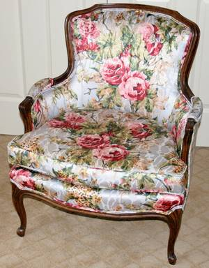 061109 LOUIS XVI STYLE WALNUT  SILK BERGERE