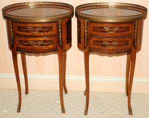 061107 LOUIS XV STYLE MARQUETRYINLAID SIDE TABLES