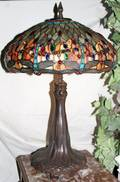 060105 LEADED GLASS  BRONZE DRAGONFLY TABLE LAMP
