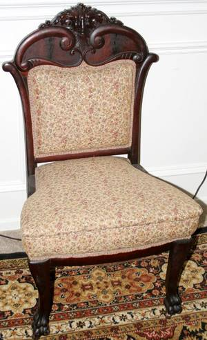 060117 AMERICAN CARVED MAHOGANY SIDE CHAIRS 19TH C