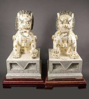 Pair of Large Chinese Ivory or Bone Veneered Foo Dogs