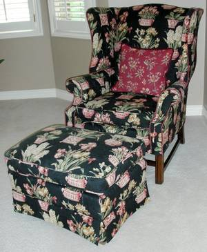091198 CHIPPENDALE STYLE MAHOGANY WINGBACK CHAIR