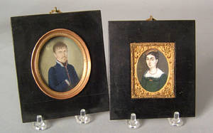 Two watercolor on ivory miniature portraits of a man and woman 19th c