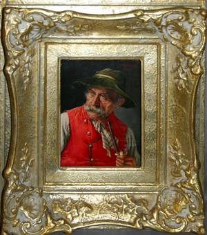 080122 FRANZ XAVIER WOLFLE OIL ON BOARD TYROLEAN MAN
