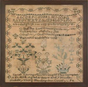 Hollidaysburg Huntingdon County Pennsylvania silk on linen sampler dated 1834 wrought by Sarah Livingston