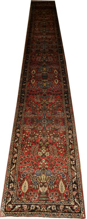 072088 PERSIAN SEMIANTIQUE WOOL RUNNER 23x28