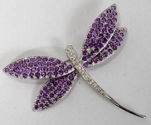 070085 14K GOLD AMETHYST  DIAMOND DRAGONFLY PIN