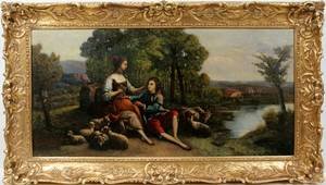 062115 FRENCH SCHOOL OIL ON CANVAS COURTING COUPLE