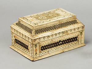 Carved ivory dresser box early 19th c