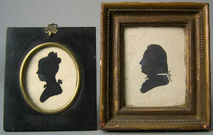Two Peale Museum hollow cut silhouettes early 19th c