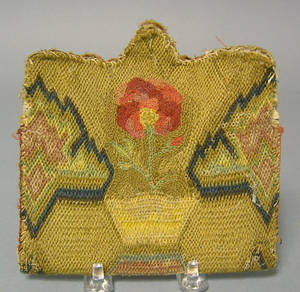American flame stitch purse late 18th c