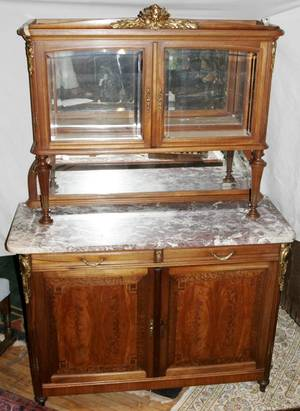 042107 LOUIS XVI STYLE WALNUT MARBLE TOP CABINET
