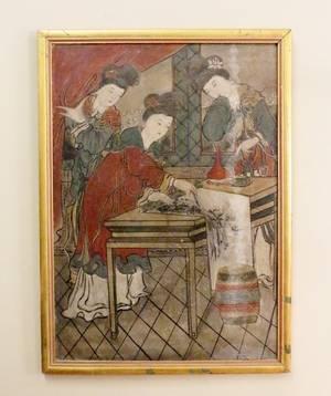 Oriental Hand Painted Figural Wood Panel