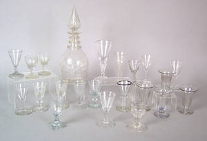 Colorless cut glass decanter ca 1840