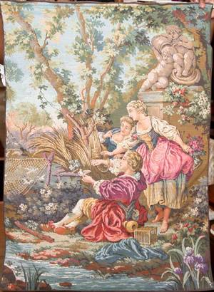 071258 WALL TAPESTRY WFRENCH SCENE AFTER BOUCHER