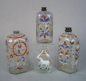 Three Stiegel type clear glass brides bottles ca 1800