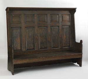 Delaware Valley painted pine settle midlate 18th c