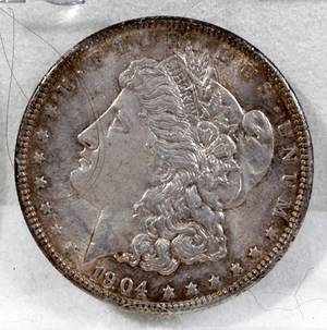 050217 US MORGAN SILVER ONE DOLLAR COIN 1904P 1