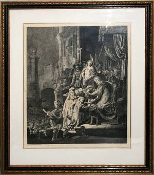 042152 AFTER REMBRANDT ETCHING CHRIST BEFORE PILATE