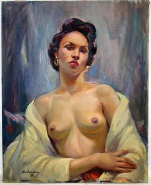 091300 ROBERT RUKAVINA OIL ON CANVAS FEMALE NUDE