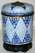 080197 ASIAN BLUE  WHITE CERAMIC CYLINDER CONTAINER