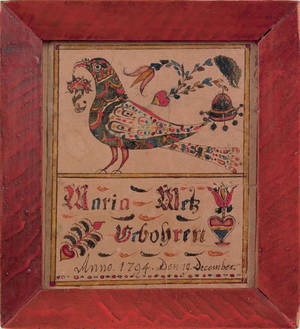 Southeastern Pennsylvania watercolor and ink on paper fraktur birth record for Maria Metz dated 1794