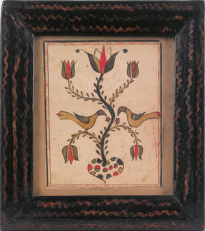 Southeastern Pennsylvania watercolor fraktur early 19th c