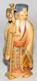 061276 CHINESE CARVED IVORY  POLYCHROME ELDER H4