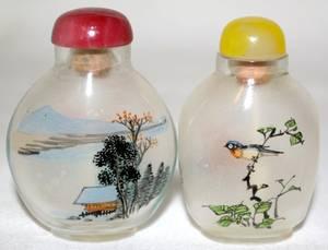 061264 CHINESE REVERSEPAINTED GLASS SNUFF BOTTLES