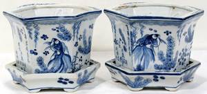061261 CHINESE BLUE  WHITE PORCELAIN CACHE POTS