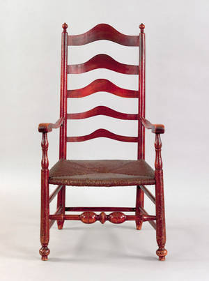 Delaware Valley five slat ladderback armchair ca 1770