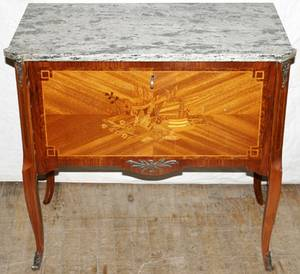 051270 FRENCH LOUIS XV STYLE WALNUTMARBLE COMMODE