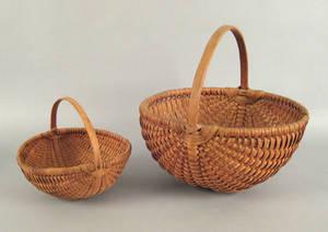 Two Pennsylvania split oak carrying baskets ca 1900
