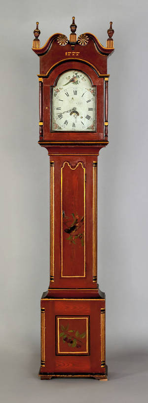 Kutztown Pennsylvania painted tall case clock ca 1810
