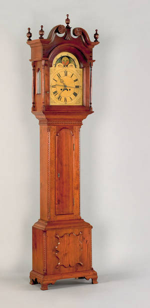 Pennsylvania Chippendale walnut tall case clock late 18th c