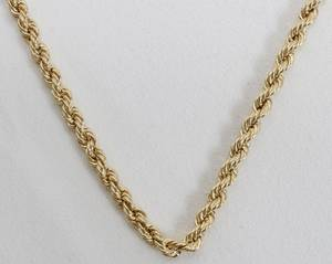 090293 14K YELLOW GOLD ROPE CHAIN NECKLACE L20
