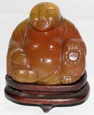 080244 CHINESE HARD STONE FIGURE OF BUDDHA H3 W3