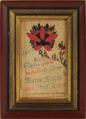 Southeastern Pennsylvania ink and watercolor fraktur dated 1802 for Maria Magdalena Neef