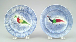 Two blue spatter toddy plates 19th c