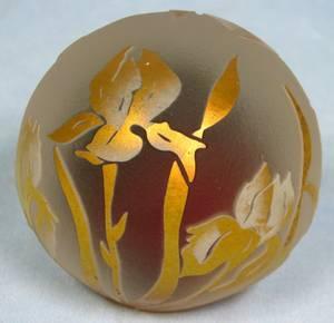 063117 CORREIA ART GLASS IRIS PAPERWEIGHT