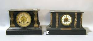 Two enameled iron mantle clocks