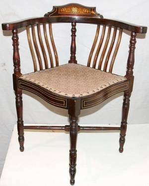 090318 SHERATON INLAID MAHOGANY CORNER CHAIR 19TH C
