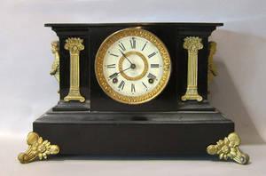 Two Ansonia ebonized mantle clocks