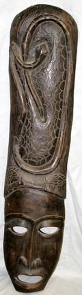 070235 AFRICAN CARVED WOOD MASK SNAKE DESIGN H41