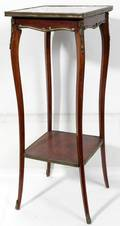 051385 FRENCH WALNUT  ROUGE MARBLE TOP STAND