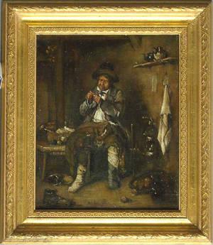 Oil on canvas interior scene bearing the signature of E Nicol
